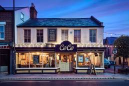 Exterior of Cafe Coco, Oxford, at sunrise