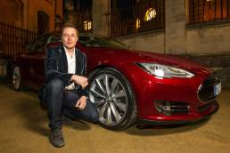 Elon Musk outside the Sheldonian Theatre in Oxford