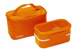Product photo of orange lunch box and cooler bag