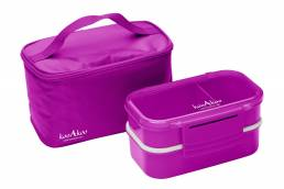 Product photo of pink lunchbox and cooler bag