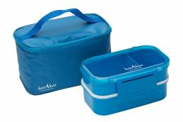 Product photo of blue lunchbox and cooler bag