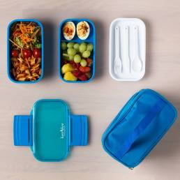 Lunchbox with food photographed from above