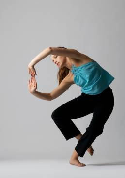 Studio dance photograph of woman in dance pose