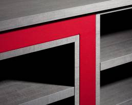 Detail of red and grey cabinet by Baring Furniture