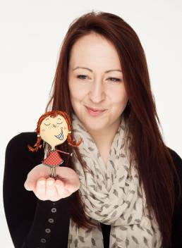 Claire Elsom, Illustrator with one of her characters