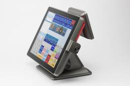 Studio product photo of POS terminal on white background