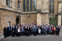 A large group of people attending a service at New College in Oxford