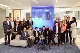 Team photo at Intuitive Surgical headquarters at Oxford Science Park