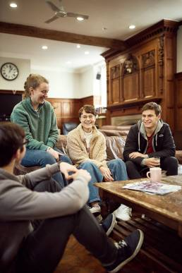 University of Oxford students relaxing in common room