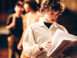 Acting student during rehearsals at Magdalen College School in Oxford