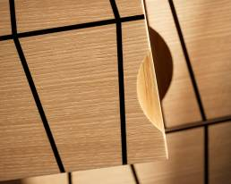 Detail of oak and ebony marquetry cabinet by Baring Furniture