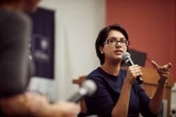 Angela Saini speaking at the Oxford Martin School