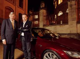 Dr James Martin and Elon Musk at the Sheldonian Theatre in Oxford