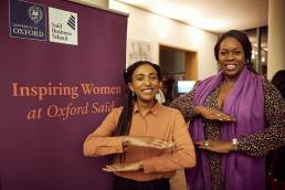 Two women attending the Inspiring Women at Oxford Saïd event
