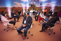 Virtual Reality headsets in use at the Skoll World Forum in Oxford