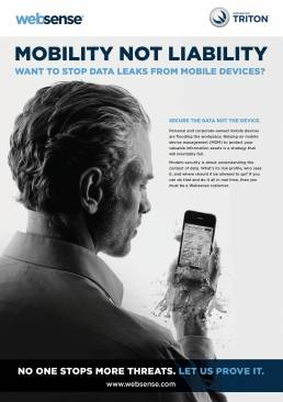 Websense advert for stopping security leaks from mobile devices