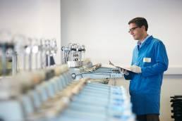 Man analysing samples at Fugro in Wallingford, Oxfordshire