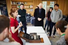 Demonstration of the Enigma machine at Kellogg College in Oxford