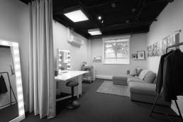 Interior of the Green Room at Fisher Studios