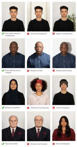 Adult passport photo guidance
